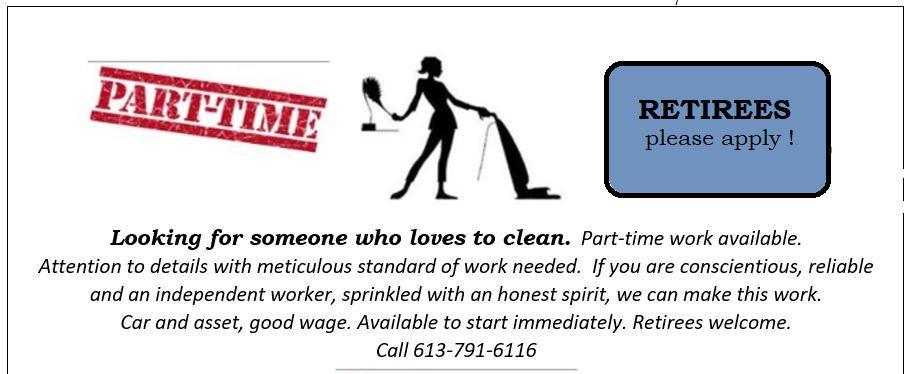 Part-Time Housecleaner Needed (Ottawa)