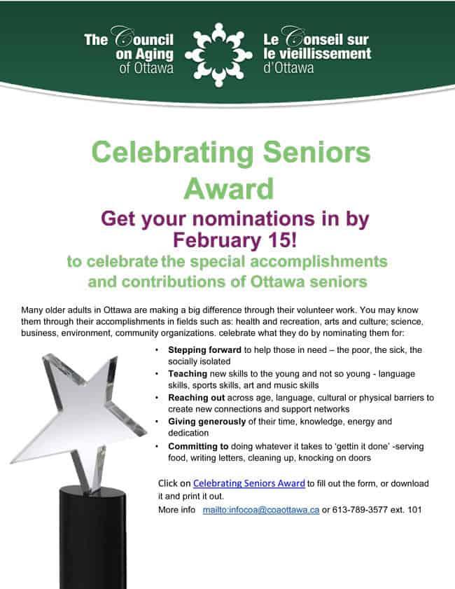 Ottawa Seniors Awards Nominations